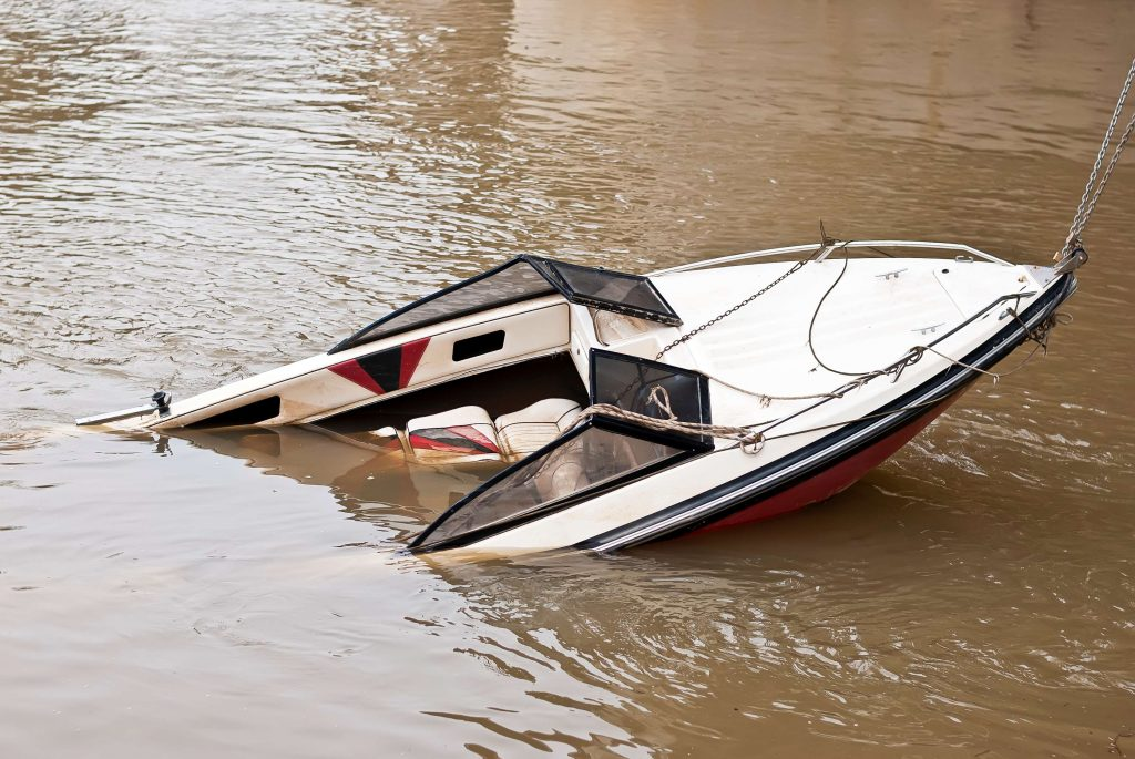 A Houston Boat Accident can lead to property damage like this Texas City boat