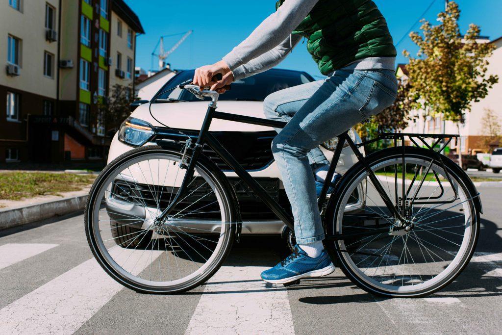Man riding bike in downtown Austin, TX