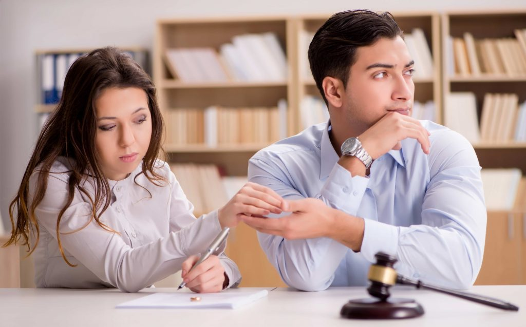 young couple at a divorce consultation