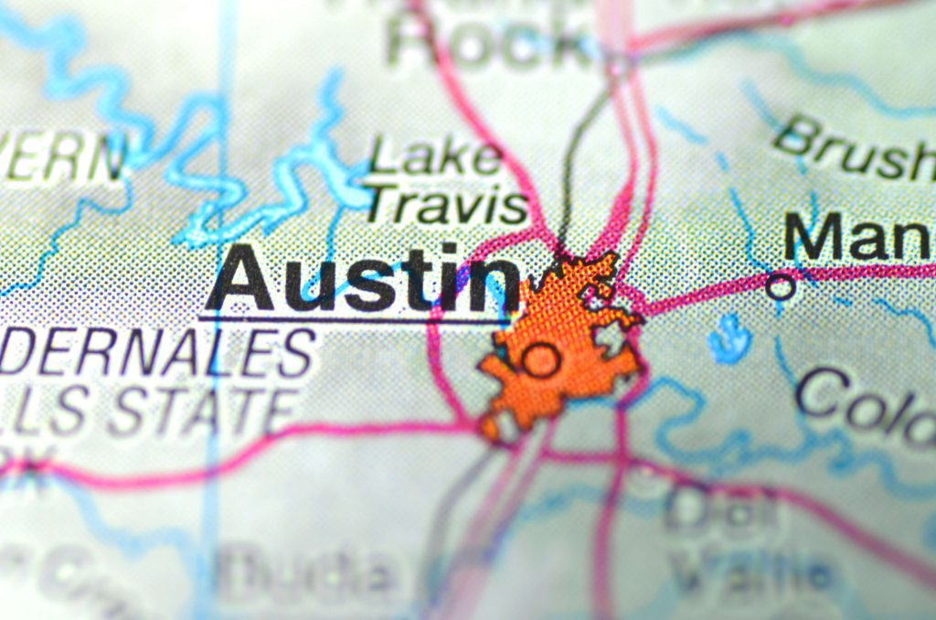 Map of areas covered by our Austin Car Accident Attorney