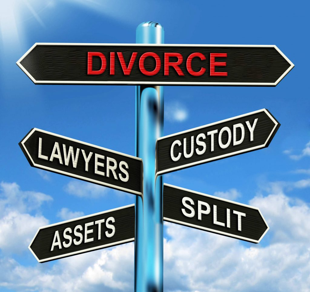Sign with divorce lawyers custody assets split on it