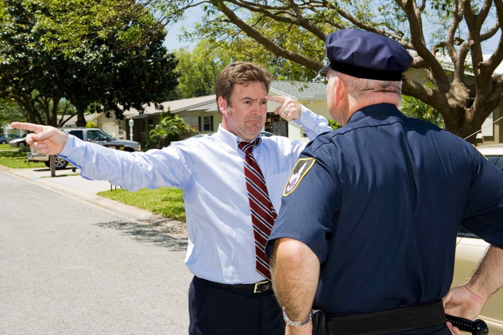 Field sobriety testing at DWI arrest scene